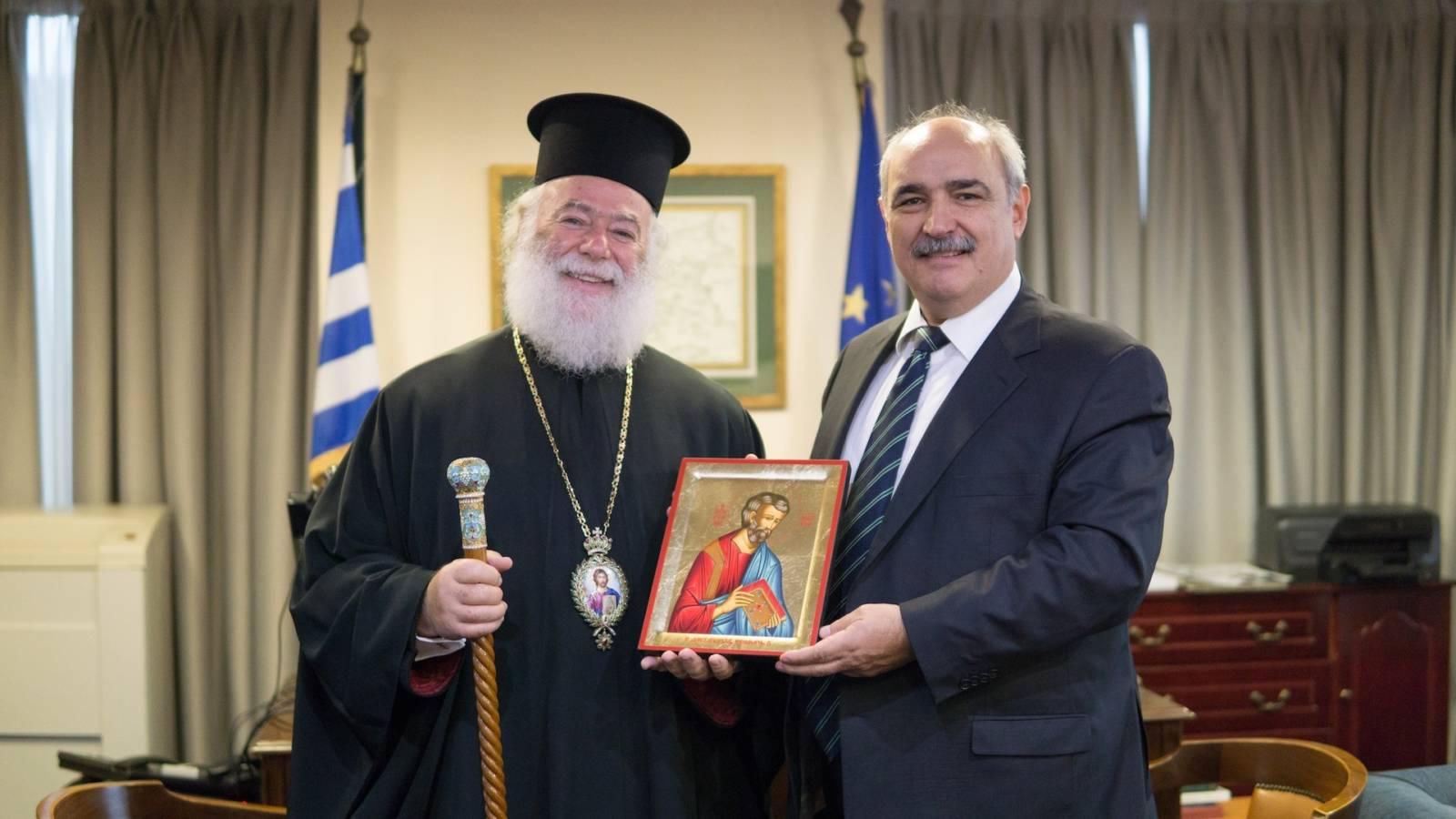 Συνάντηση Πατριάρχη Αλεξανδρείας με τον ΥΦΥΠΕΞ Μ. Μπόλαρη
