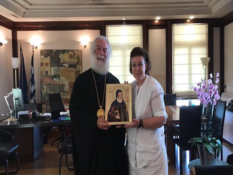 Επίσκεψη του Πατριάρχη Αλεξανδρείας και πάσης Αφρικής Θεόδωρου Β' στην υπουργό Πολιτισμού Λίνα Μενδώνη